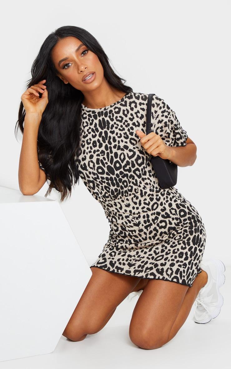 Brown Leopard Print Frill Hem Detail Shift Dress 3