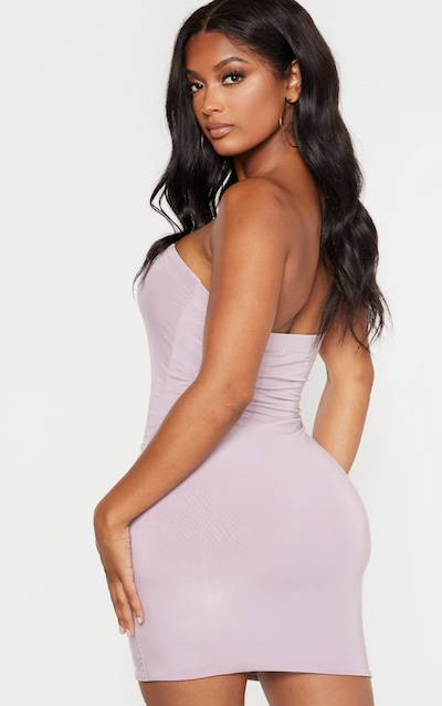Shape Dusty Lilac Slinky Bandeau Panelled Bodycon Dress