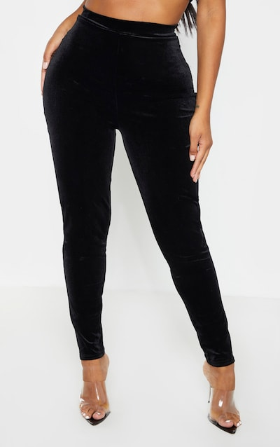 Shape Black Velvet High Waisted Trouser