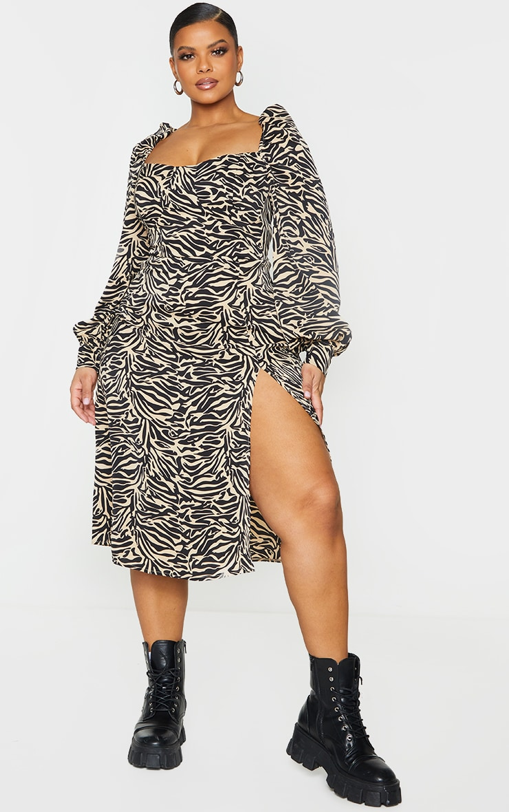 Plus Beige Tiger Puff Sleeve Midi Dress 1