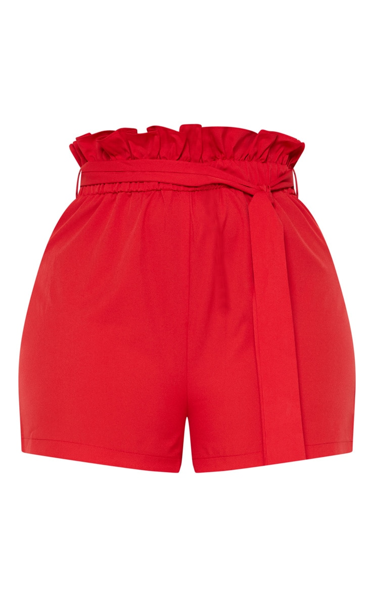 Plus Red Paperbag Belted Shorts 3
