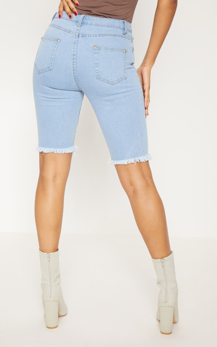 Short skinny mi-long en jean bleu clair  5