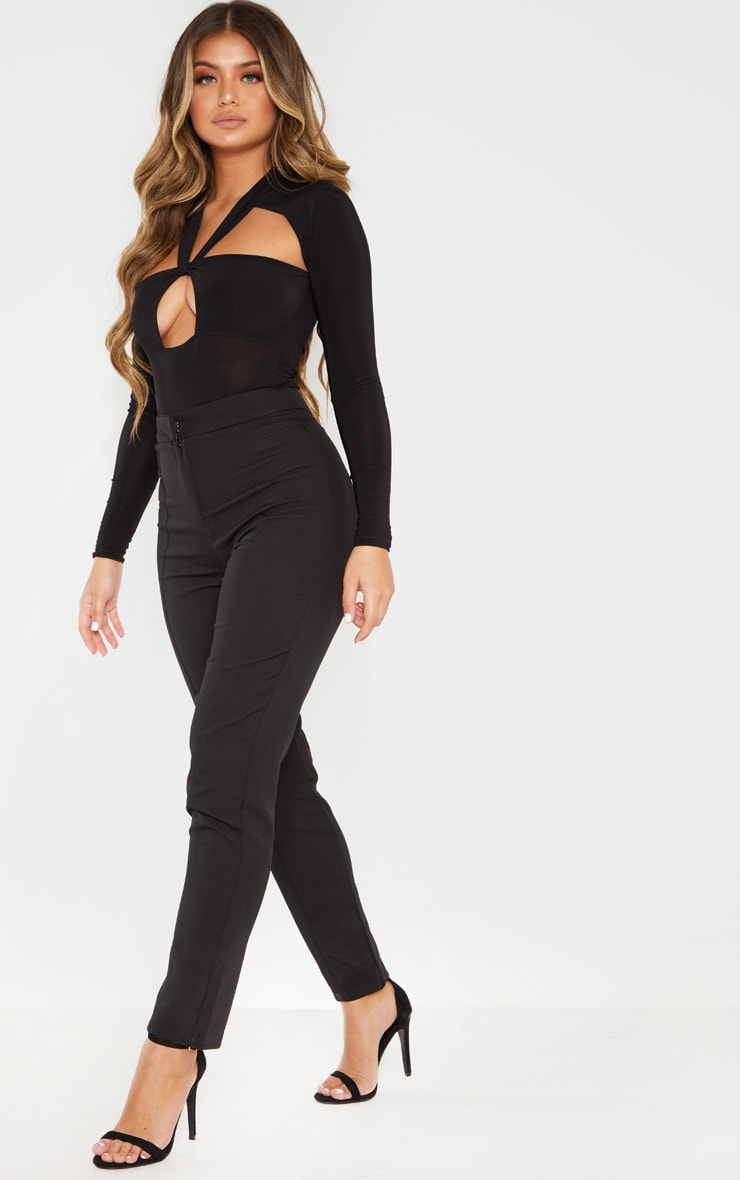 Black Twist Cut Out Long Sleeve Bodysuit 3