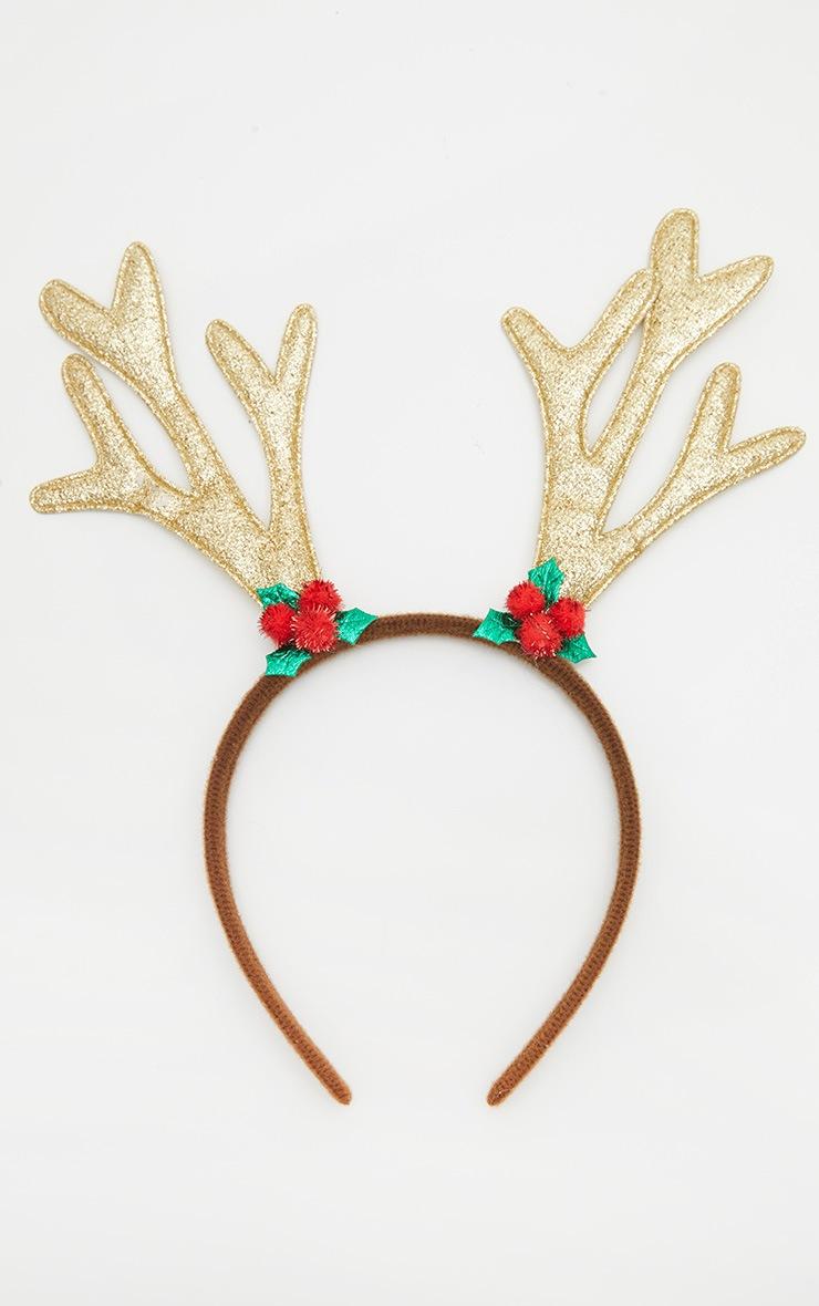 Gold Glitter Christmas Antler Headband 2