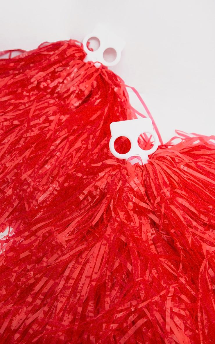Red Cheerleader Pom Poms 3