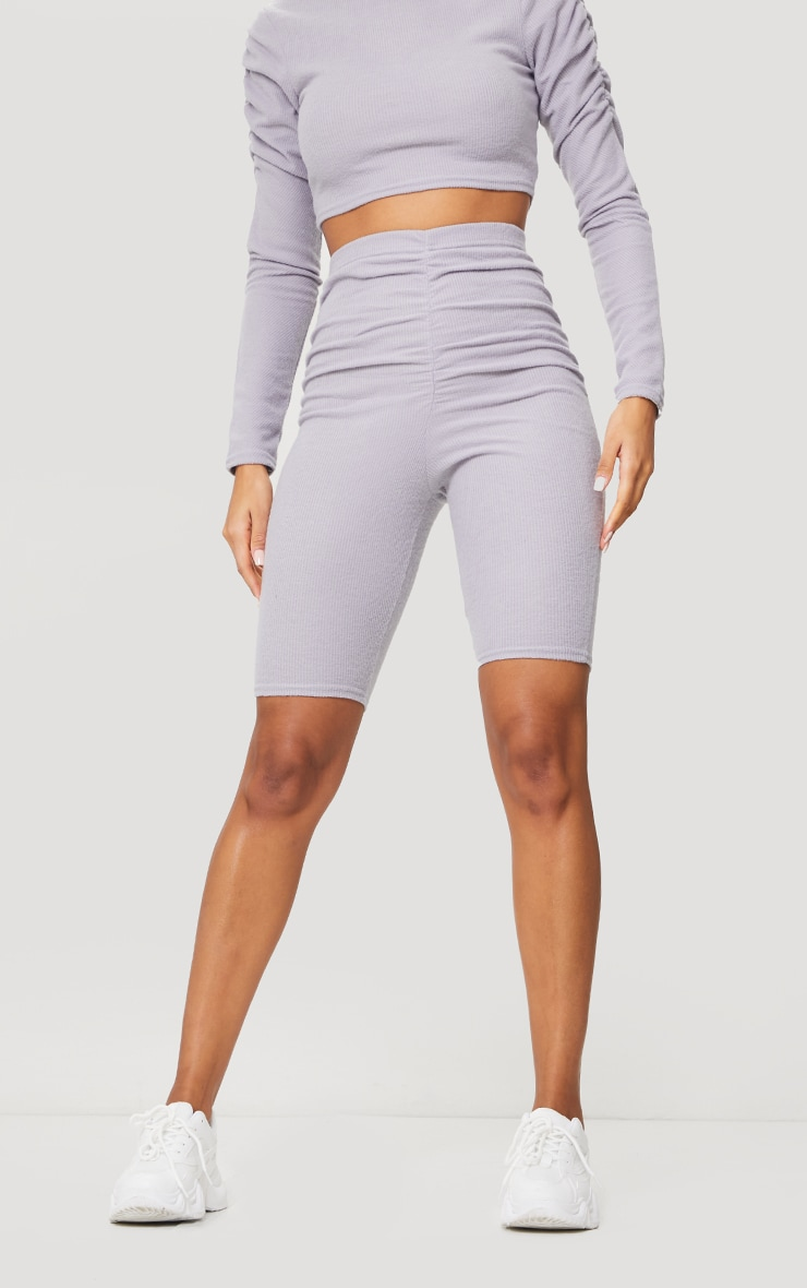 Light Grey Soft Brushed Rib Ruched Front Bike Shorts 2