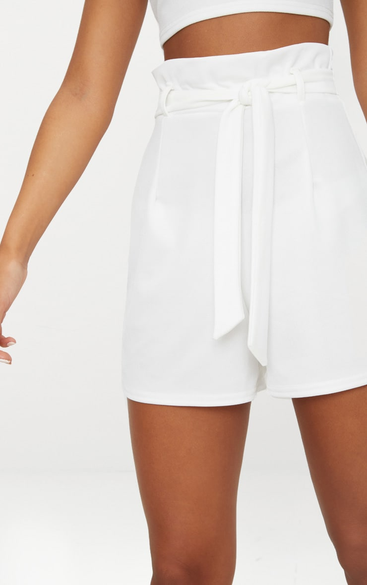 White High Waisted Tie Front Short  6