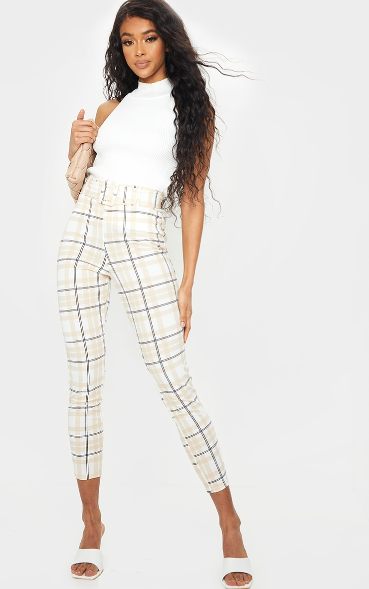 White Check Belted Skinny Pants 1