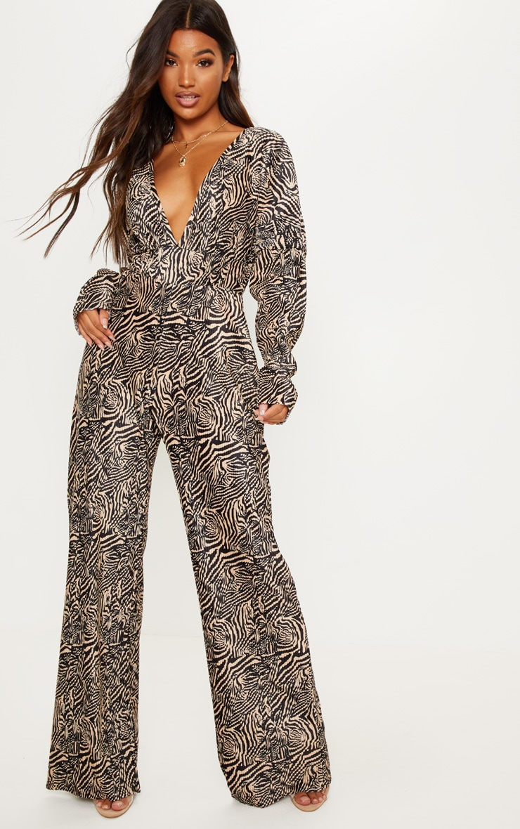 a6e0d34648d4 Stone tiger print long sleeve pleated jumpsuit image jpg 740x1180 Tiger  jumpsuit