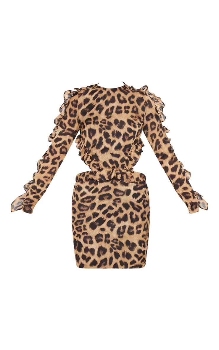 Leopard Frill Detail Backless Bodycon Dress 3