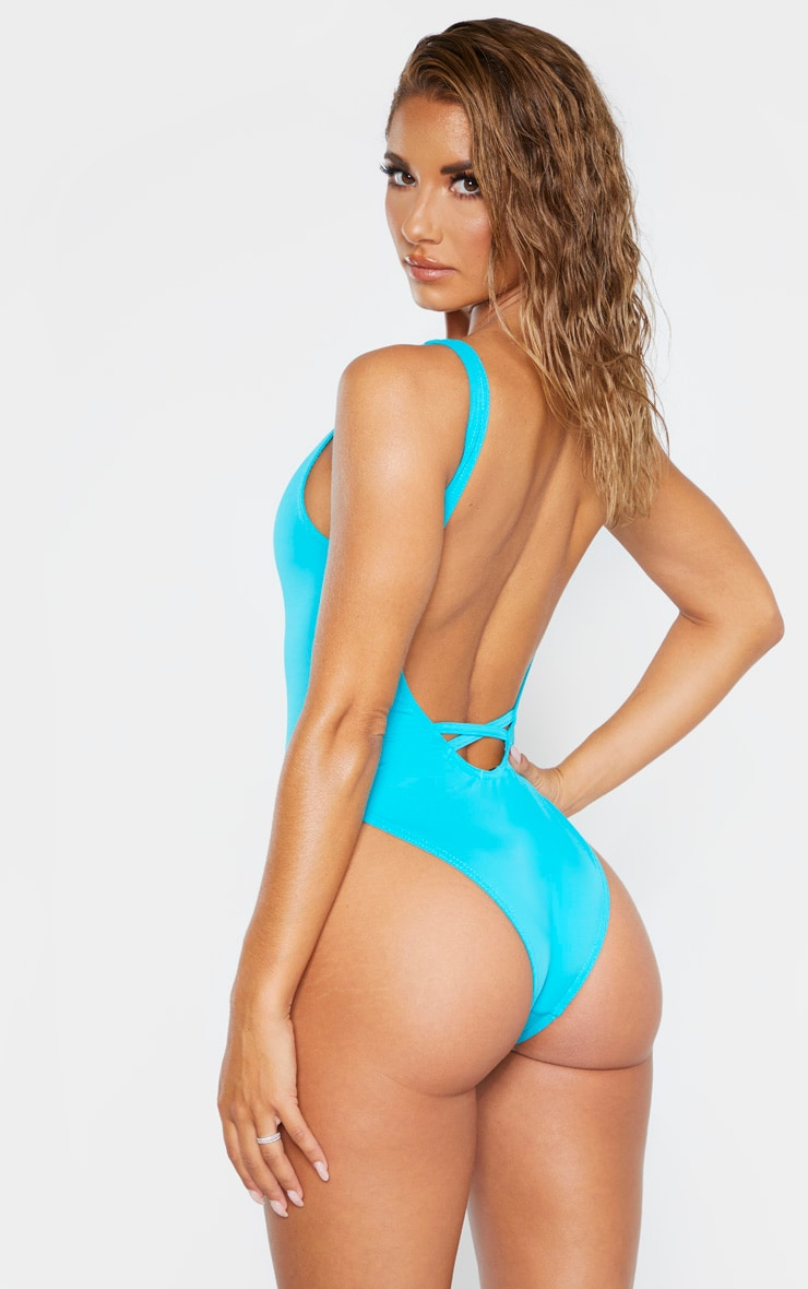 Turquoise Low Back Swimsuit 2