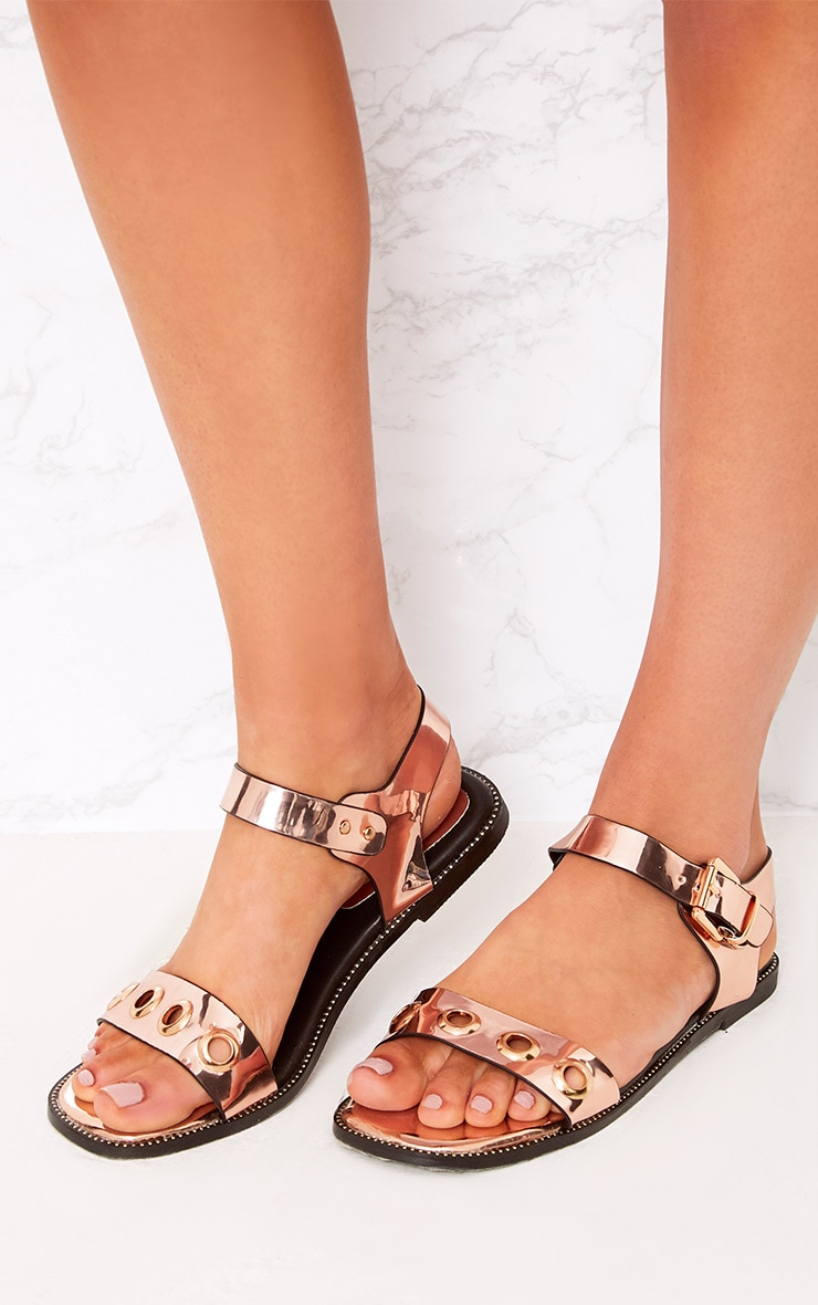 Marlene Rose Gold Metallic Eyelet Sandals  1
