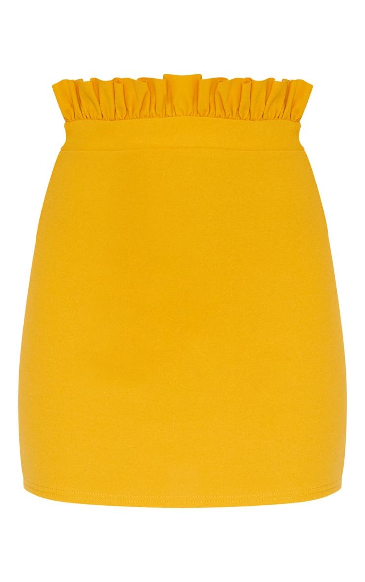 Mustard Gathered Waist Detail Mini Skirt  3