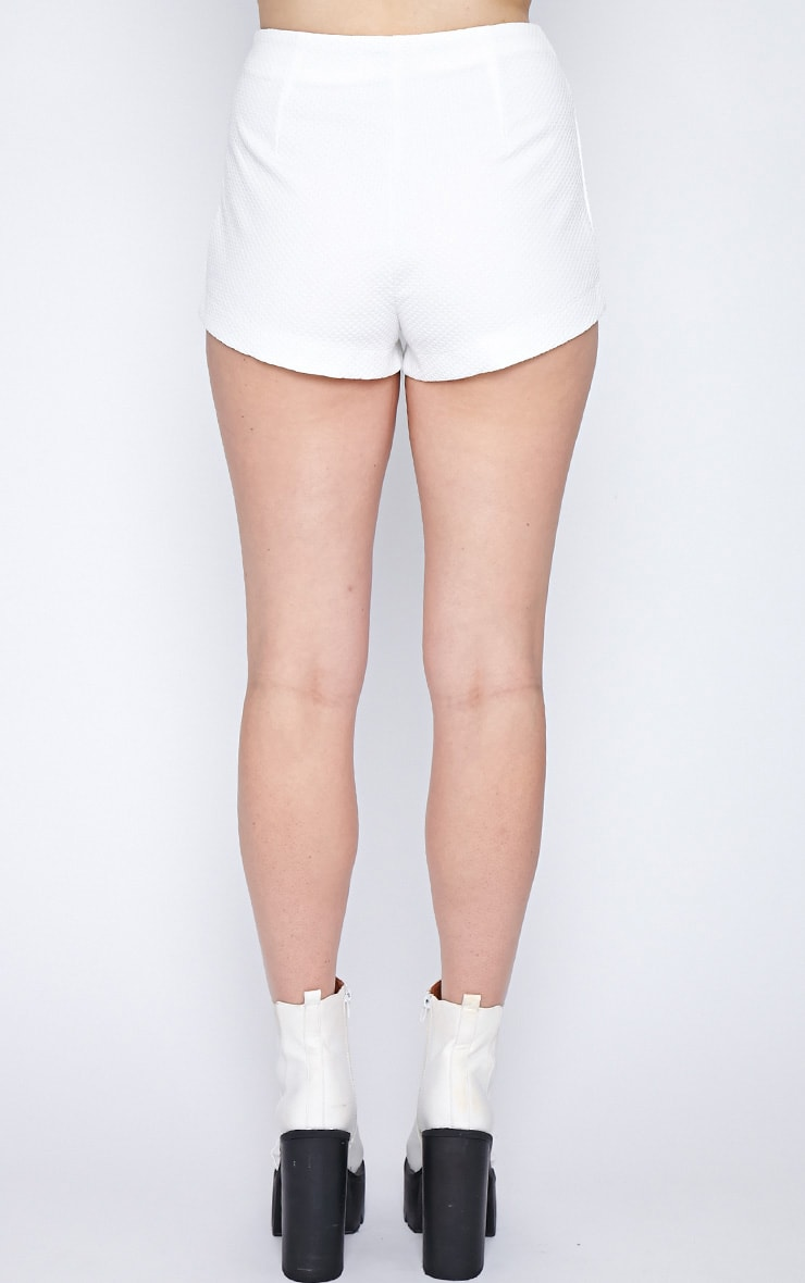 Peggy White Textured Hotpant-8 5
