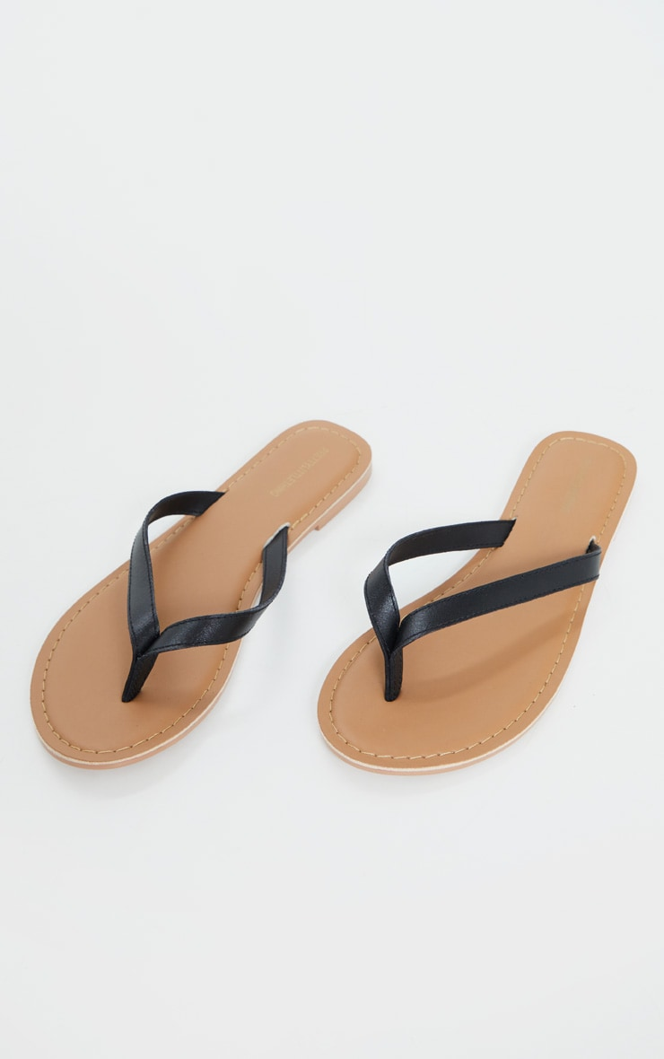 Black Real Leather Contrast Sole Toe Thong Sandals 3