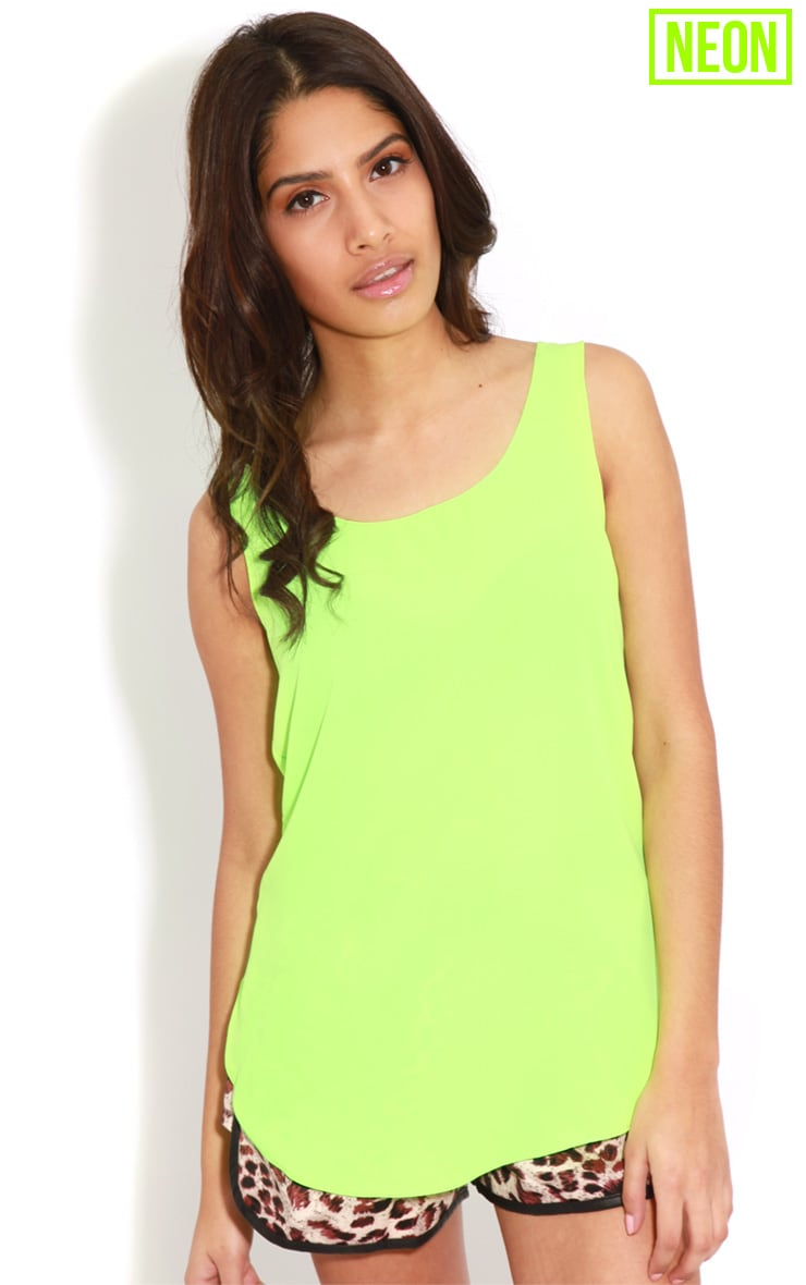 Kylee Neon Lime Silk Effect Vest 1