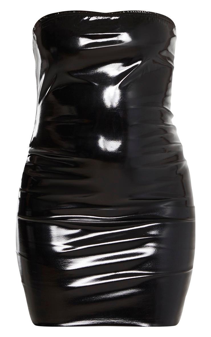 Robe bandeau moulante noire en similicuir 3
