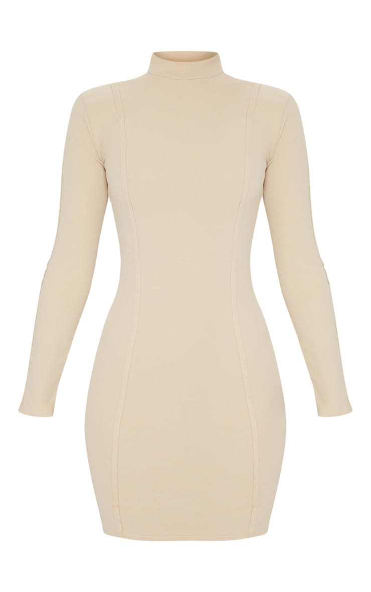 Stone High Neck Long Sleeve Binding Detail Bodycon Dress 5