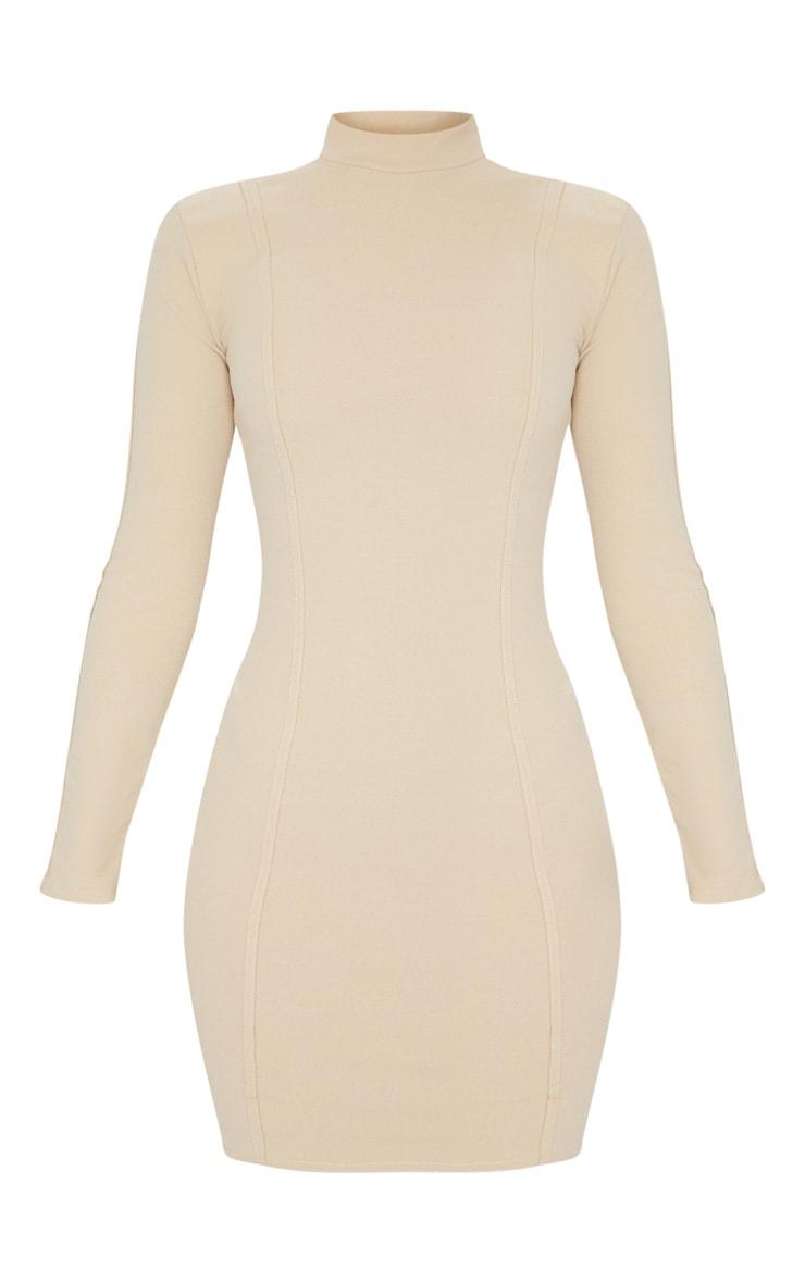 Stone High Neck Long Sleeve Binding Detail Bodycon Dress 6