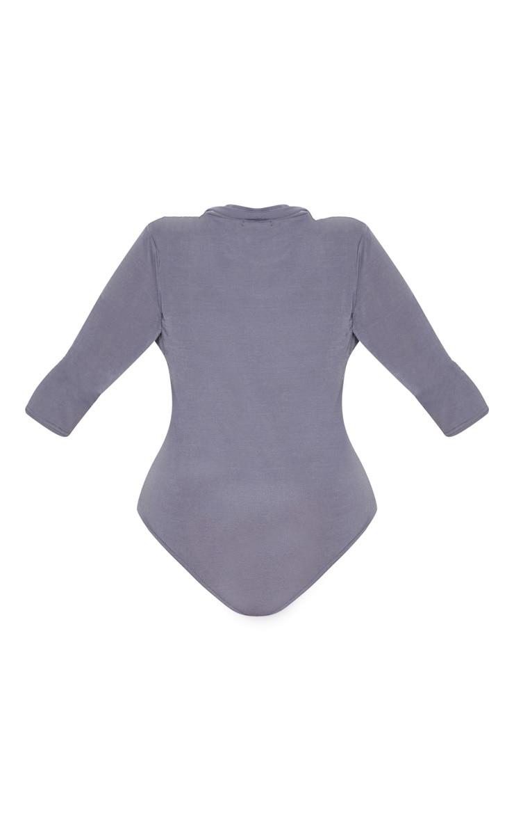 Plus Charcoal Zip Front Funnel Neck Bodysuit 4