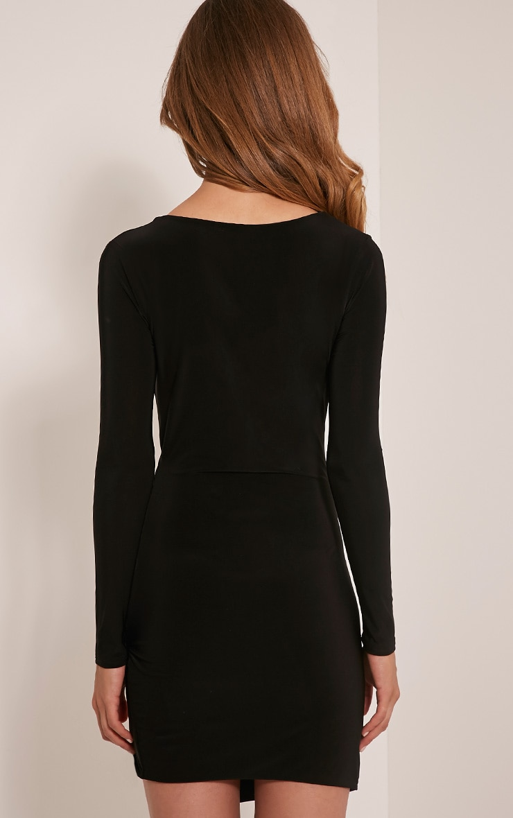 Iona Black Slinky Wrap Over Bodycon Dress 2