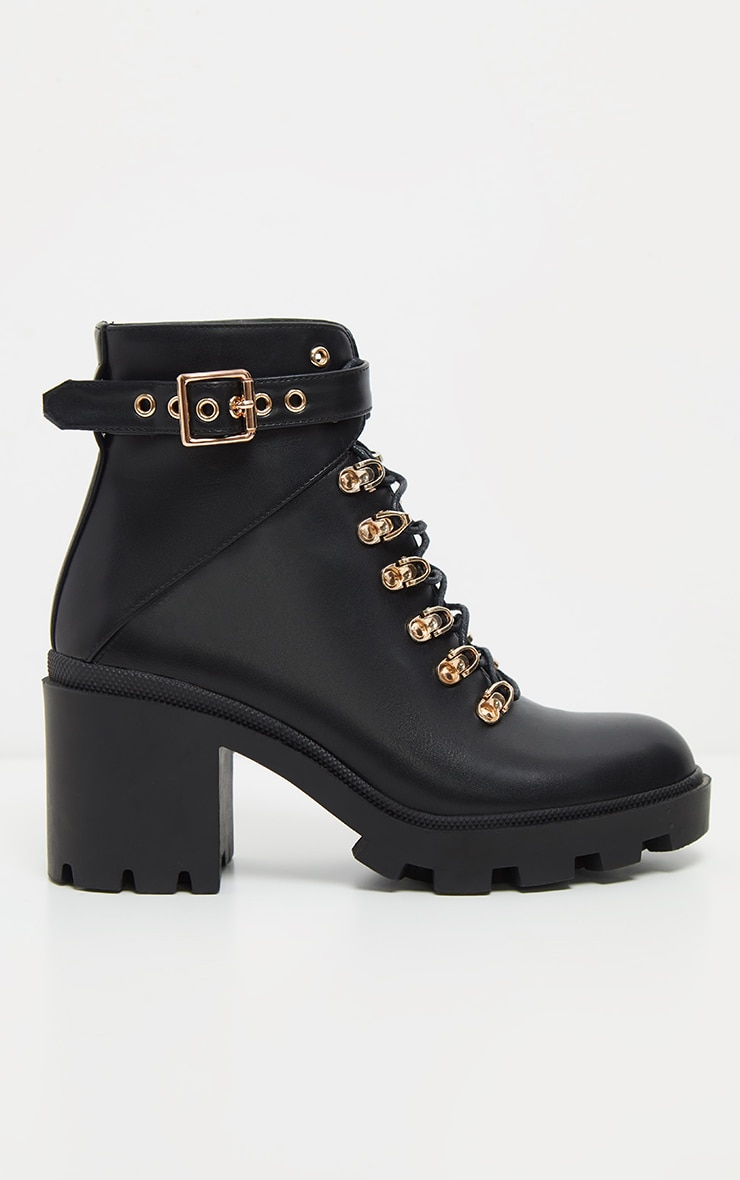 Black Lace Up Heeled Hiker Boot 4