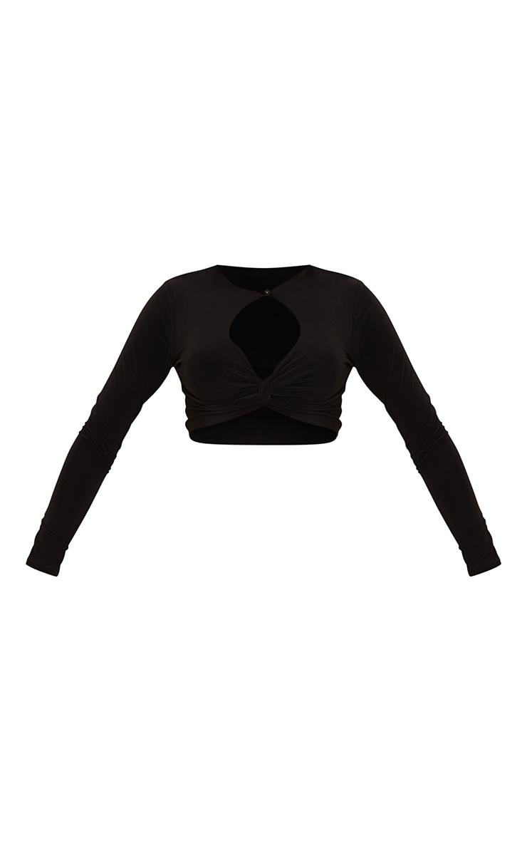 Black Slinky Cross Front Key Hole Long Sleeve Crop Top 5