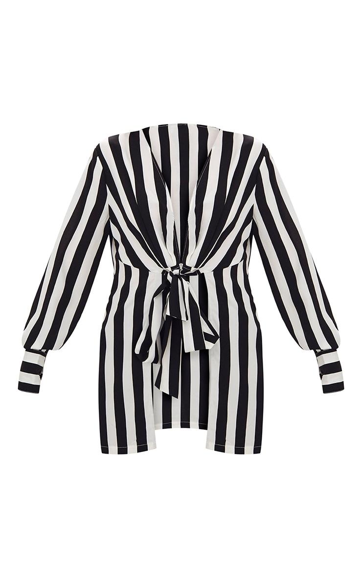Monochrome Stripe Tie Front Longline Blouse 3