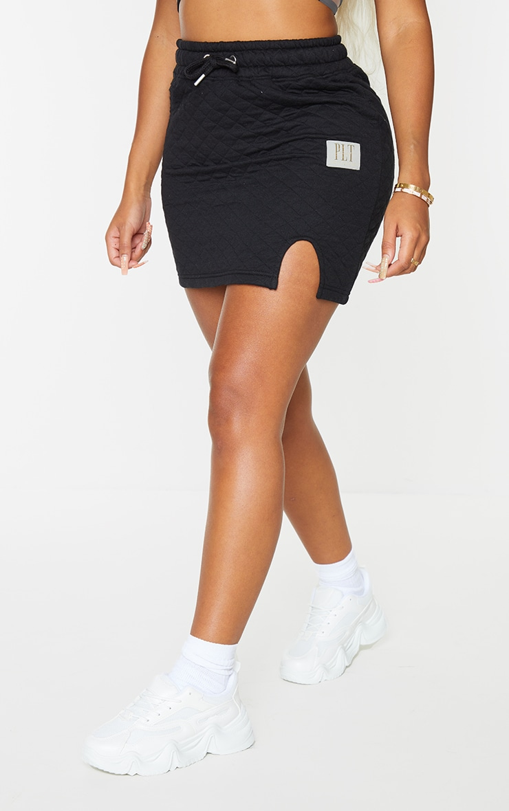 PRETTYLITTLETHING Shape Black Quilted Drawstring Bodycon Skirt 2