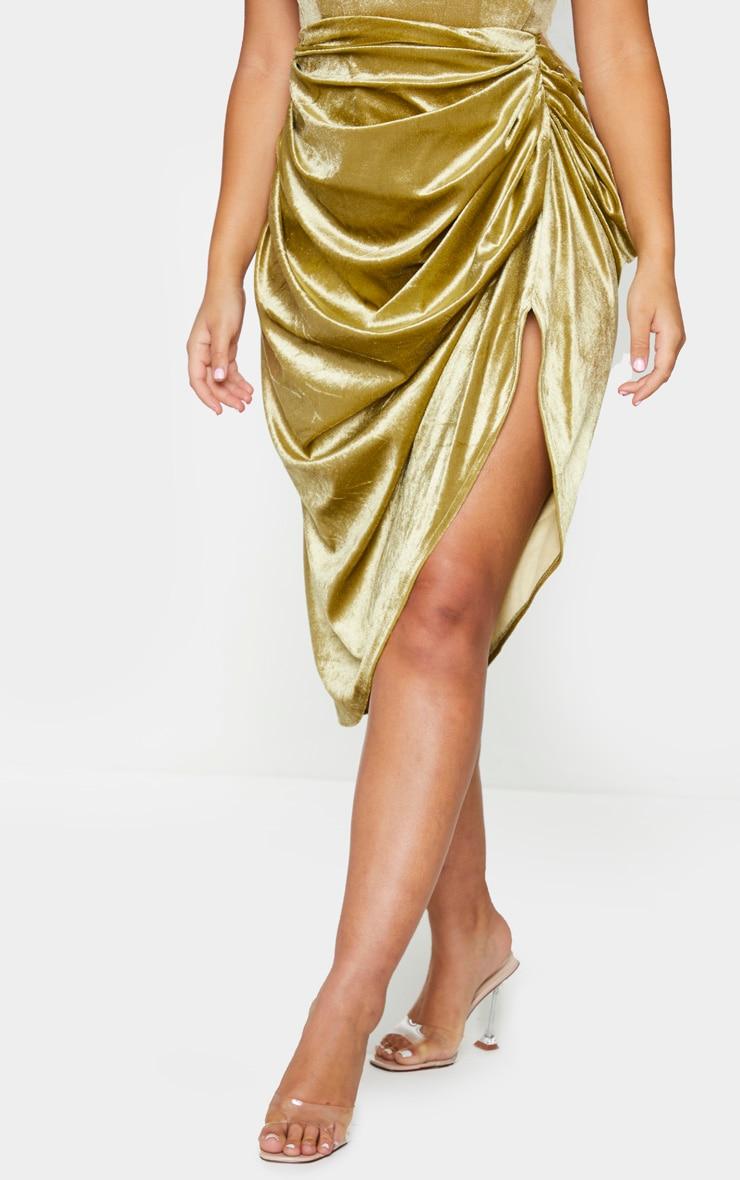 Olive Velvet Ruched Side Midi Skirt 2