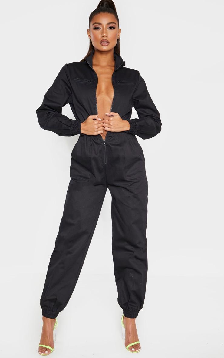 Black Utility Contrast Zip Jumpsuit 4