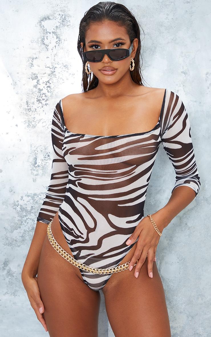 Monochrome Zebra Print Mesh Bardot Bodysuit 2
