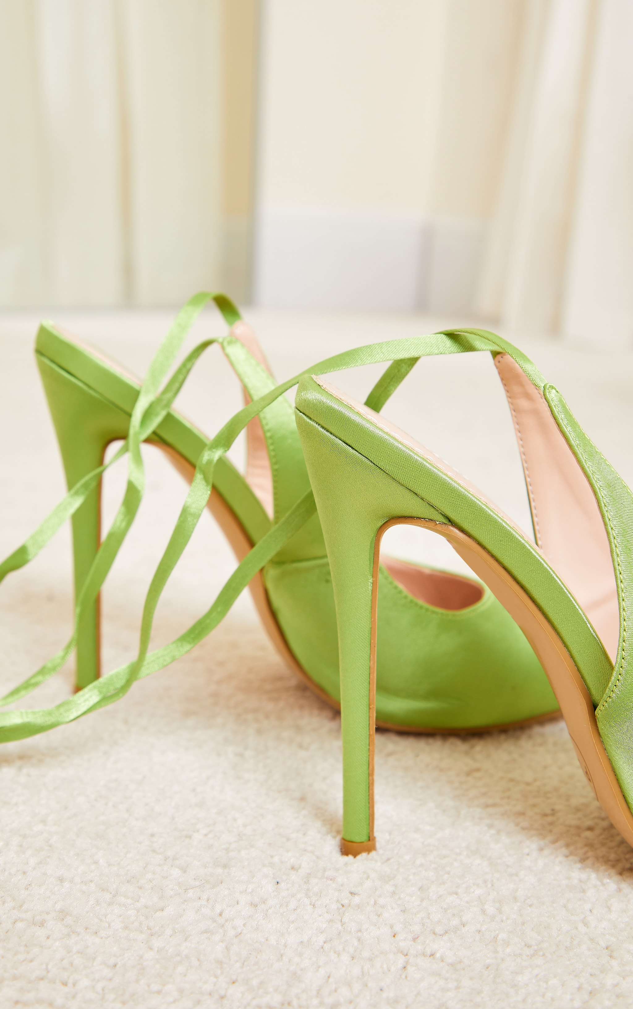 Lime Ankle Tie Court Shoes 4