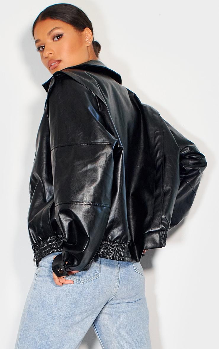 Bomber en similicuir noir oversize style 90's 2