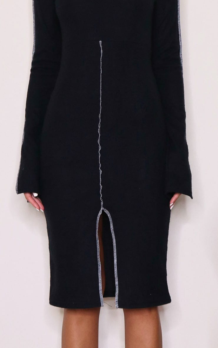 Black Brushed Rib Contrast Binding Split Front Midi Dress 4