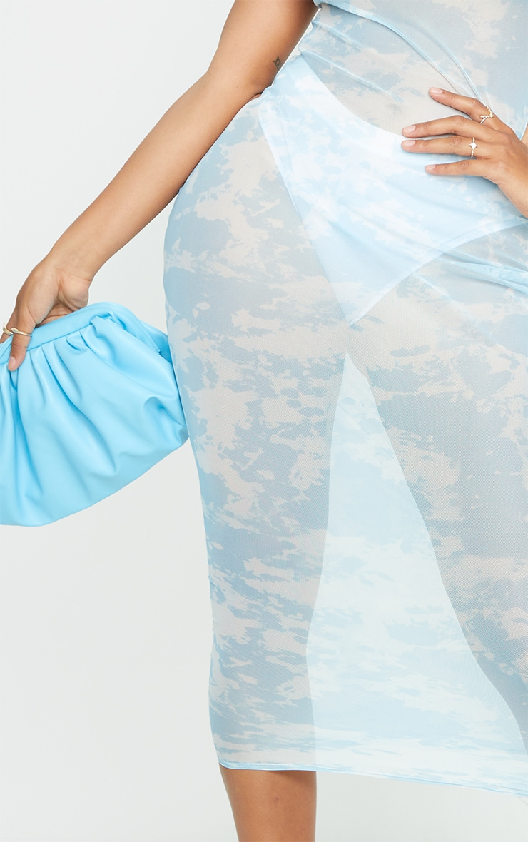 Shape Pale Blue Tie Dye Sheer Mesh Maxi Dress 4