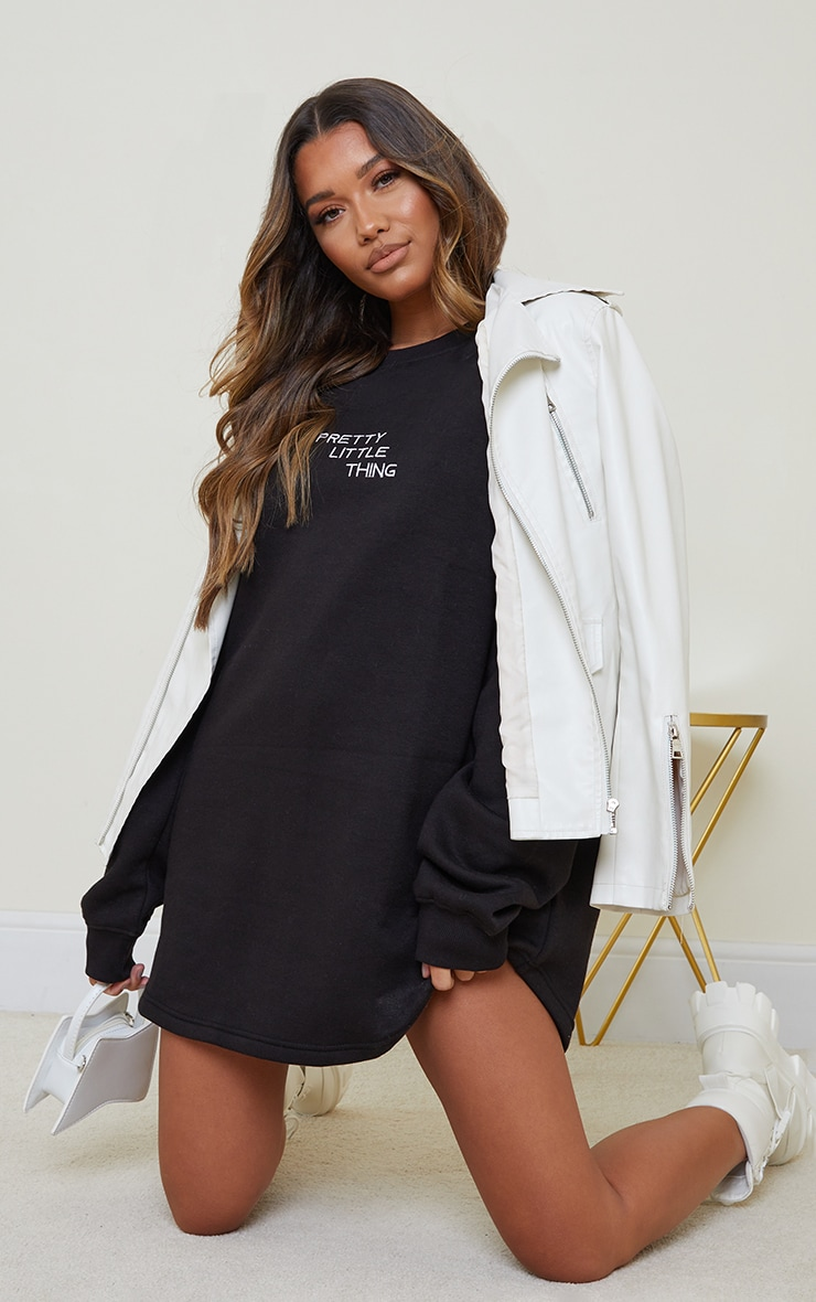 PRETTYLITTLETHING Black Contrast Stitch Oversized Sweater Dress 3