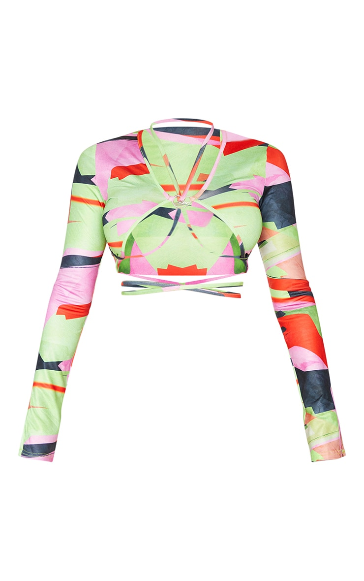 Shape Multi Abstract Print Heart Trim Strappy Long Sleeve Crop Top 5