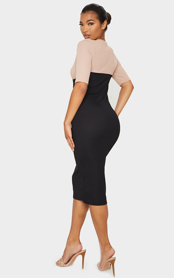 Black Rib Contrast Bust Detail Midi Dress 2
