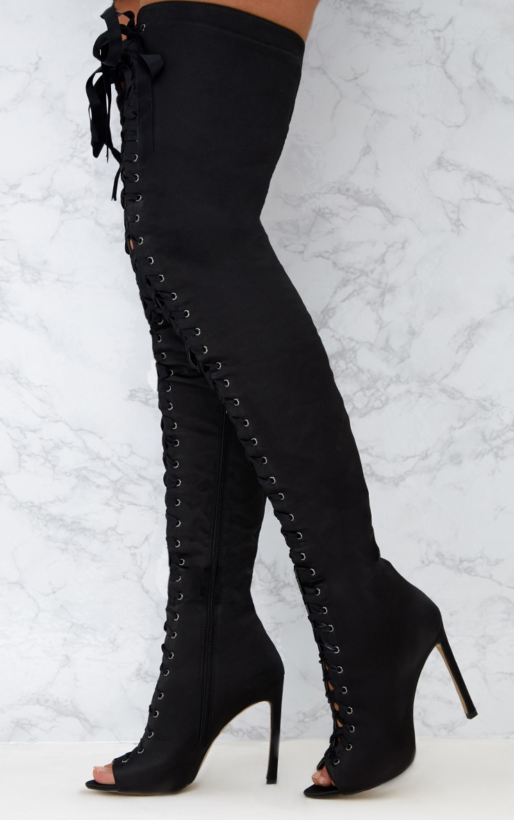 Black Satin Thigh High Lace Up Heeled Boots 2