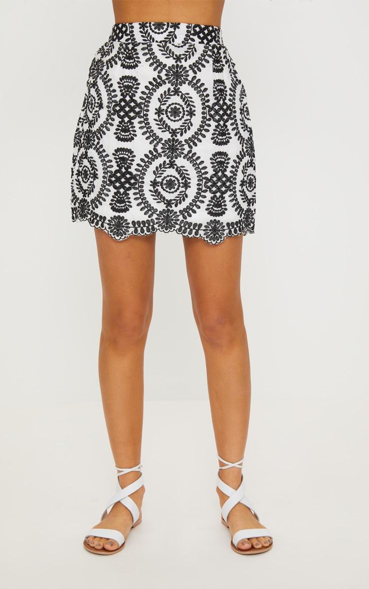 Black Embroidered A-Line Mini Skirt 3