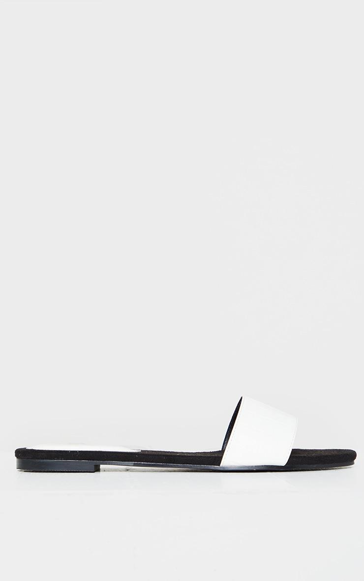 White Single Strap Mule Sandal 3
