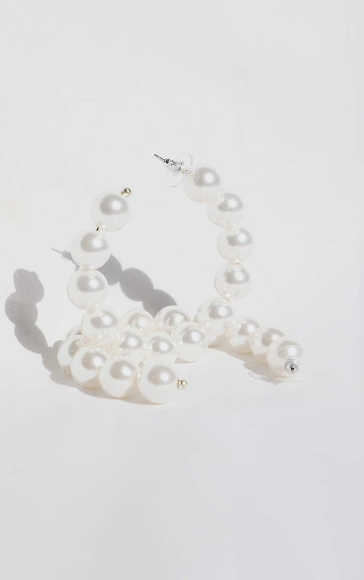 White Pearl Hoop Earrings 2