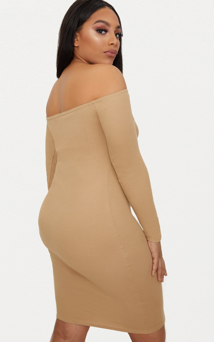 Plus Camel Second Skin Bardot Ribbed Long Sleeve Midi Dress 2