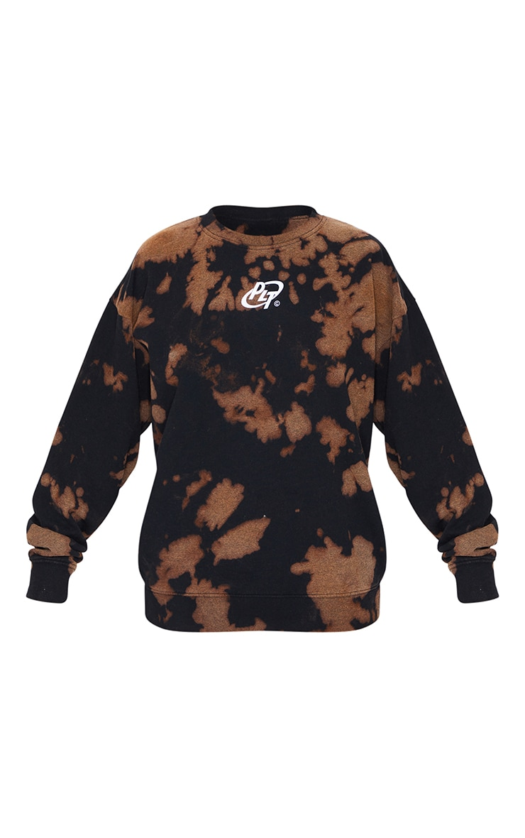 PRETTYLITTLETHING Black Circle Logo Acid Wash Sweatshirt 4