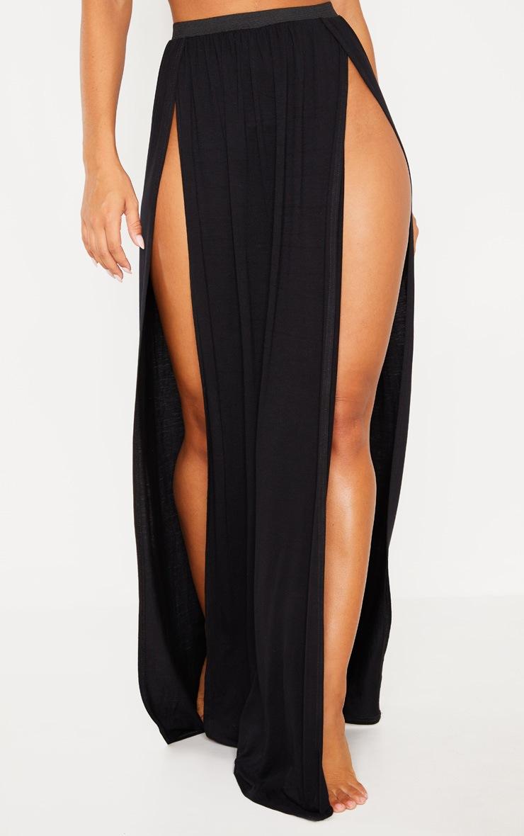 Black Jersey Double Split Beach Skirt 3