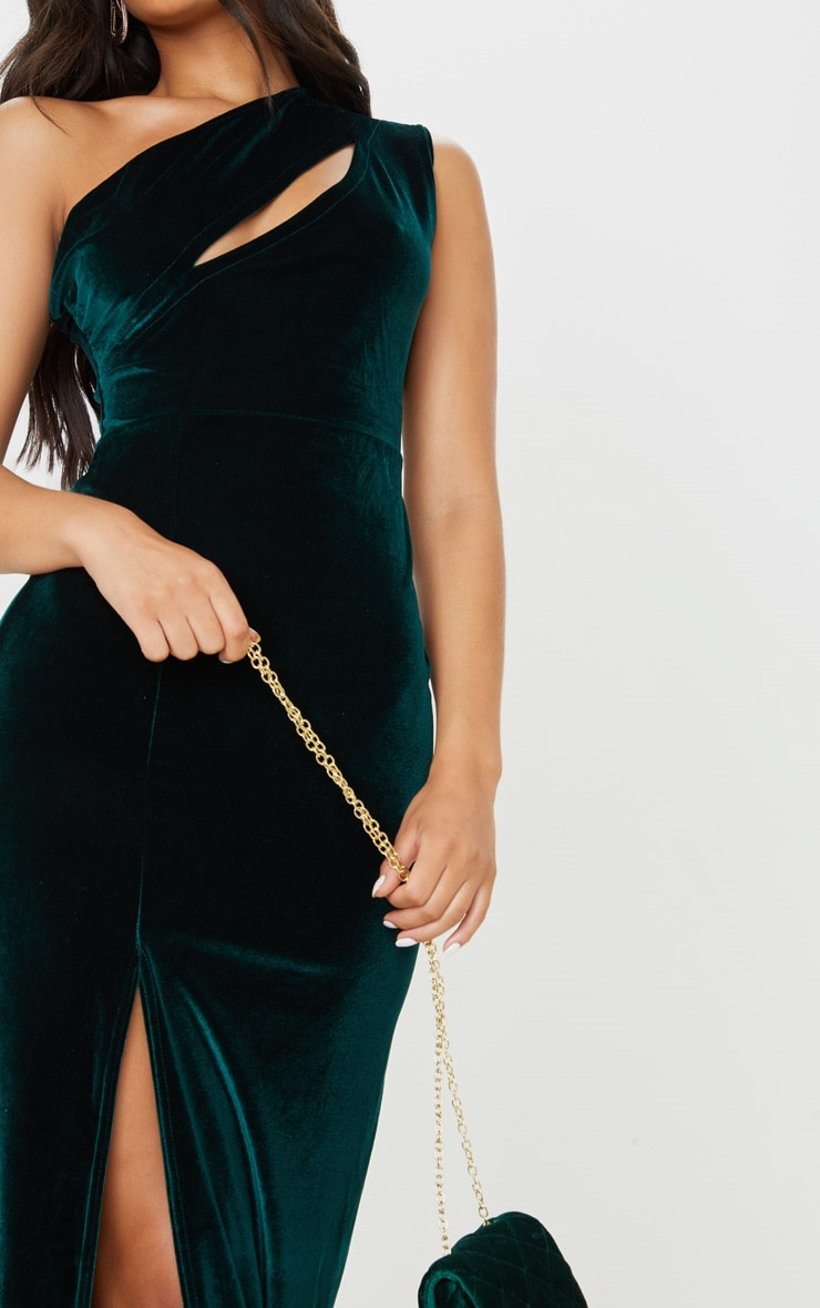 Emerald Green Velvet One Shoulder Split Leg Maxi Dress 6