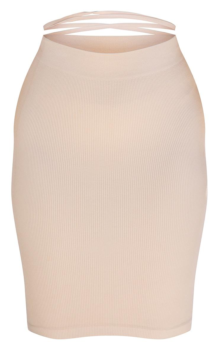 Plus Taupe Contour Rib Structured Midi Skirt 5