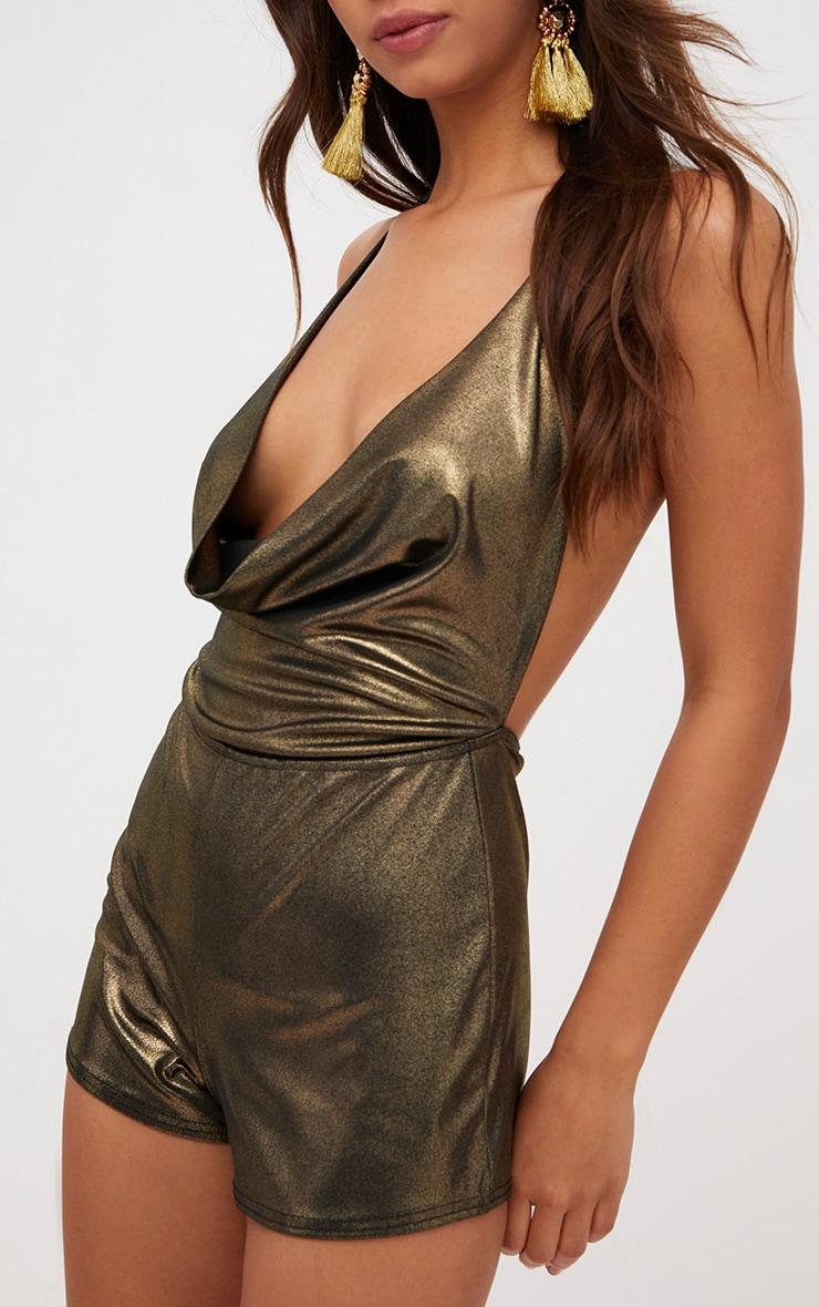 Gold Metallic Cowl Neck Playsuit  5