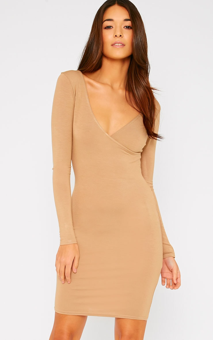 Basic Camel Wrap Dress 1